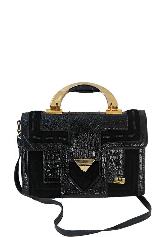 Black Patent Leather Suede Handbag With Gold Trim Detachable Shoulder Strap