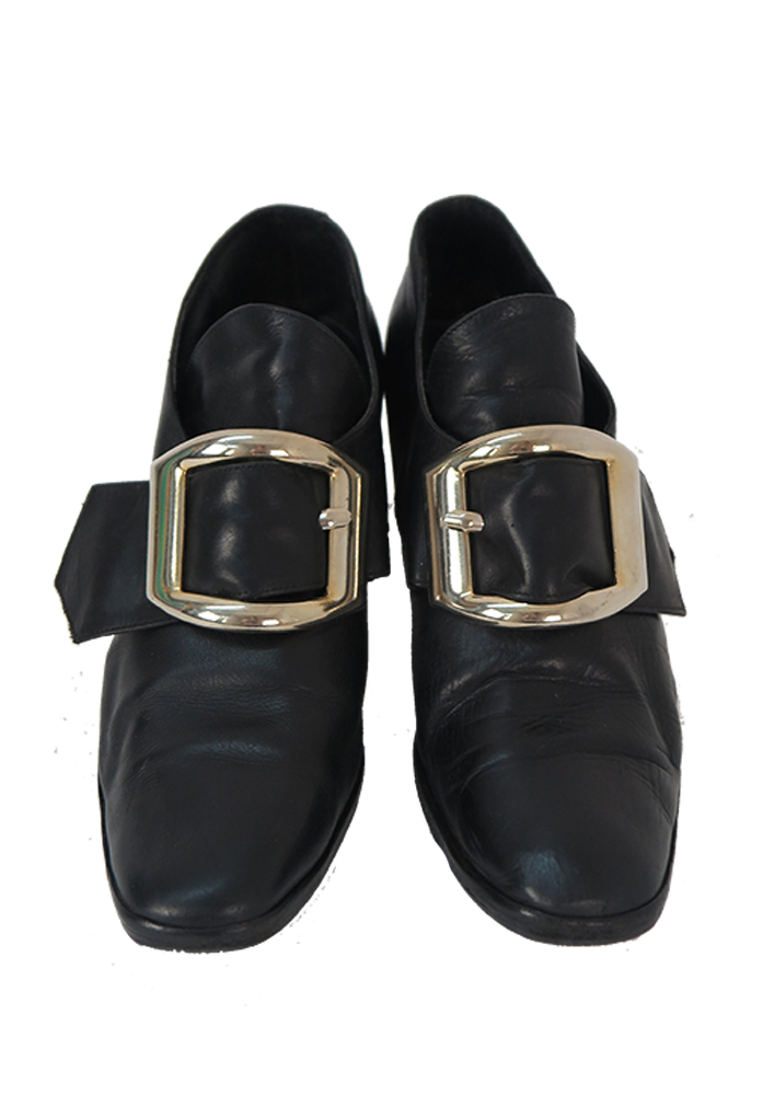 Black Leather Mid Heel Slip On Shoes With Large Silver