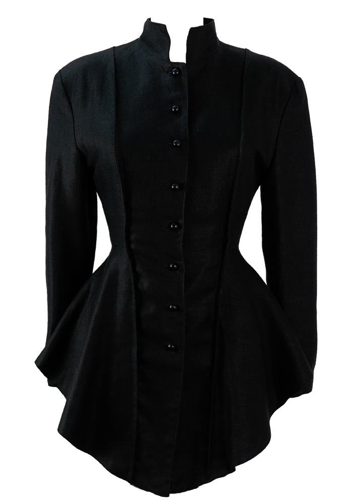 Black Victorian Style Riding Jacket With Corset Back