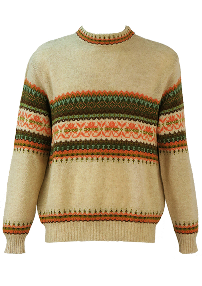 Mottled Cream Knit Jumper with Fair Isle Pattern & Elbow Patches ...
