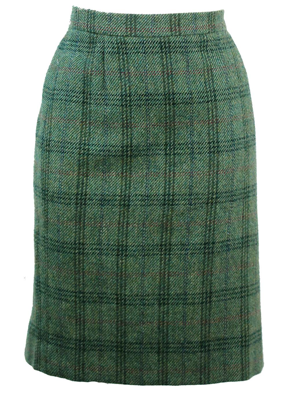 0d9ecbc7ba Green Woollen Tartan Pencil Skirt with Russet Highlights – M