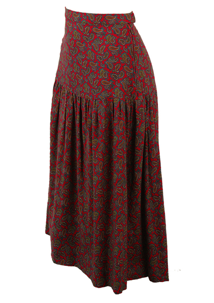 3ca4030a54 Red Paisley Patterned Flared Midi Skirt with Drop Waistband - XS/S. Touch  to zoom