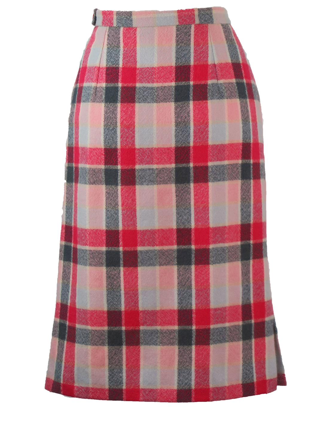 f97a8e136be Cacharel Pink & Grey Checked Wool Midi Skirt – S – Reign Vintage