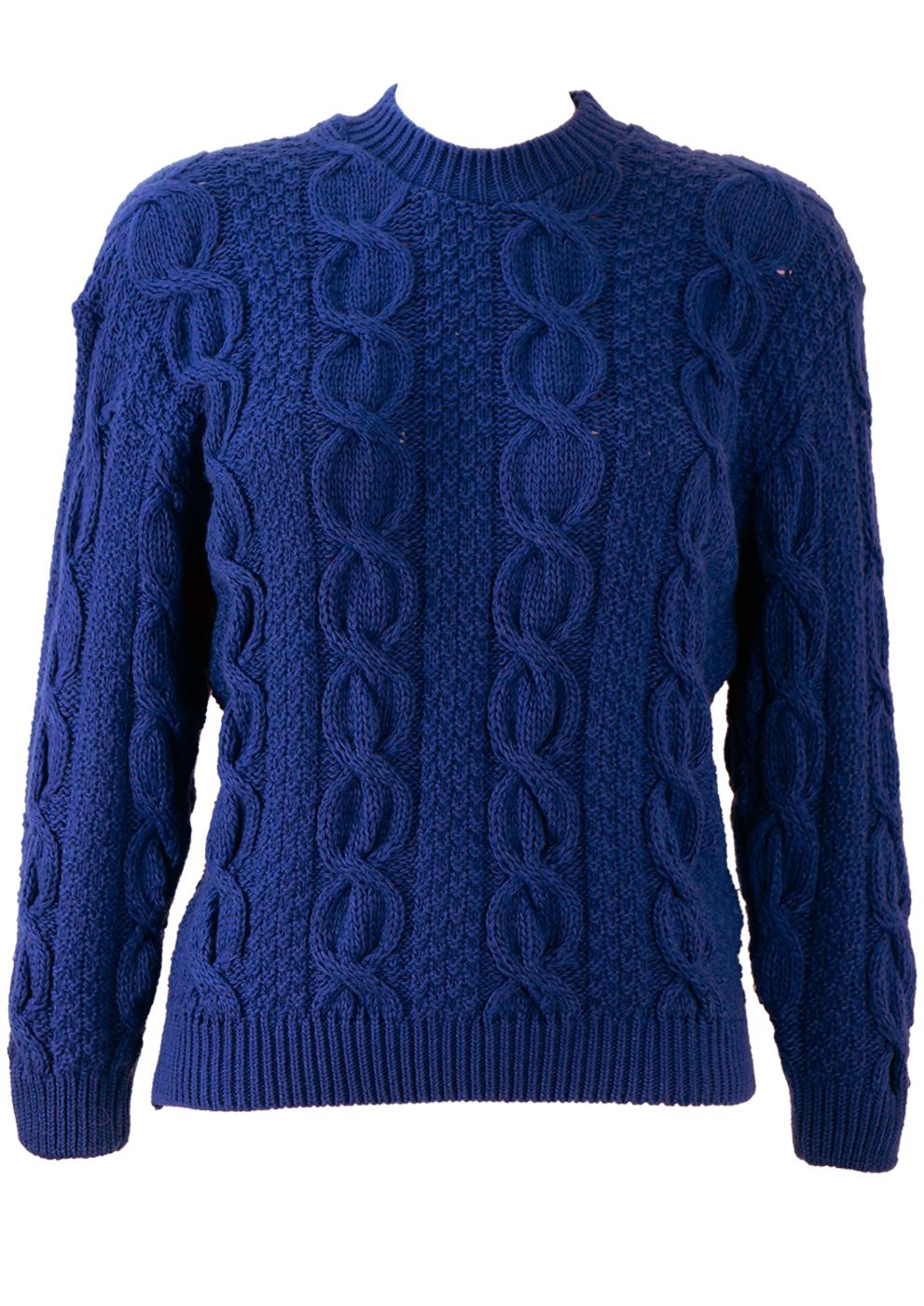 8e59a2380160c3 Bright Blue Cable Knit Jumper – S