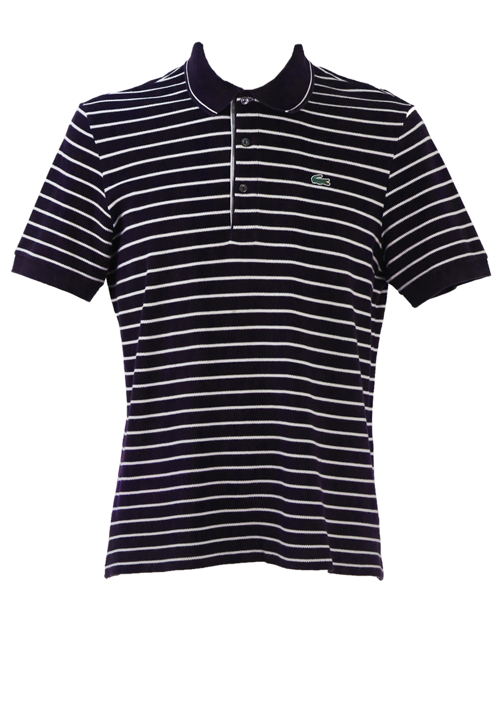 28de1c9e991 Lacoste Navy Blue & White Striped Polo Shirt – M/L – Reign Vintage