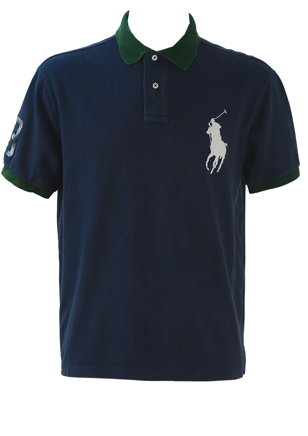 afe10b4e1 Ralph Lauren Navy Polo Shirt with Green Collar & Cuff Trim – L ...