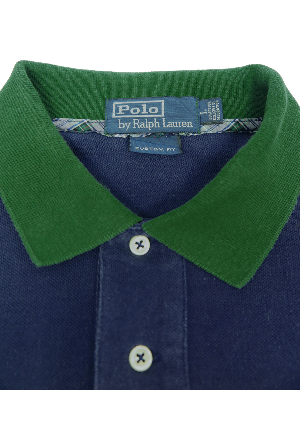 Collaramp; Ralph Navy With Lauren Trim Polo Shirt Green Cuff L VSpzGUqM