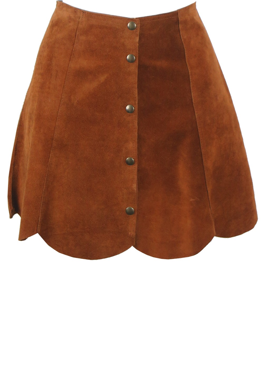 0cbc8d3ff Tan Brown Suede Mini Skirt with Scallop Hem & Popper Fastenings – S ...