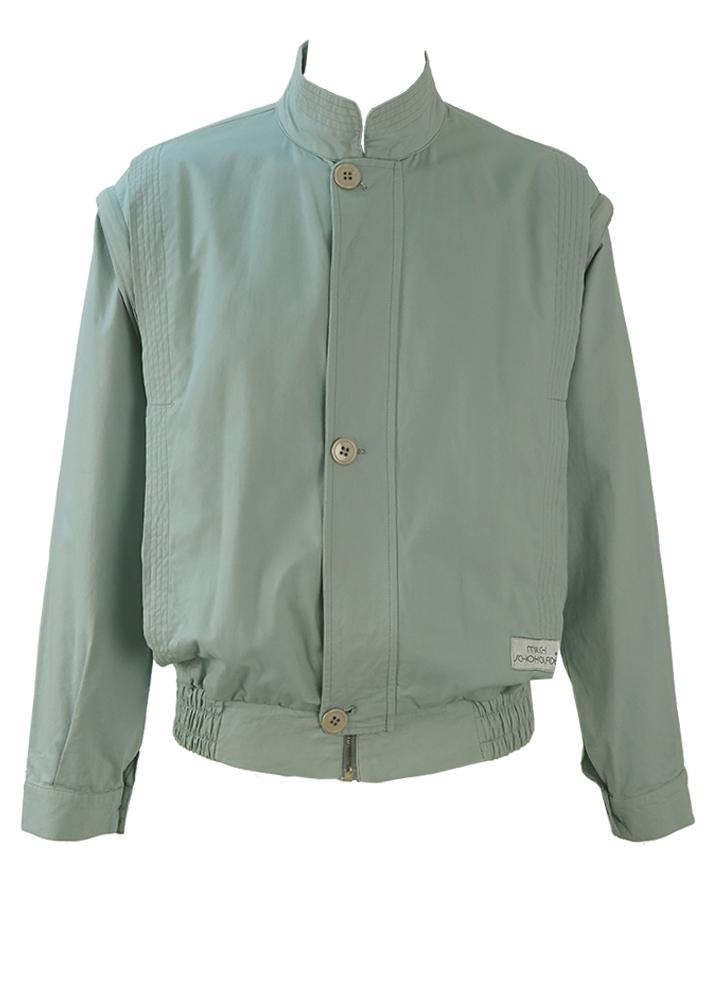 Vintage 80 S Light Blue Cotton Bomber Jacket With