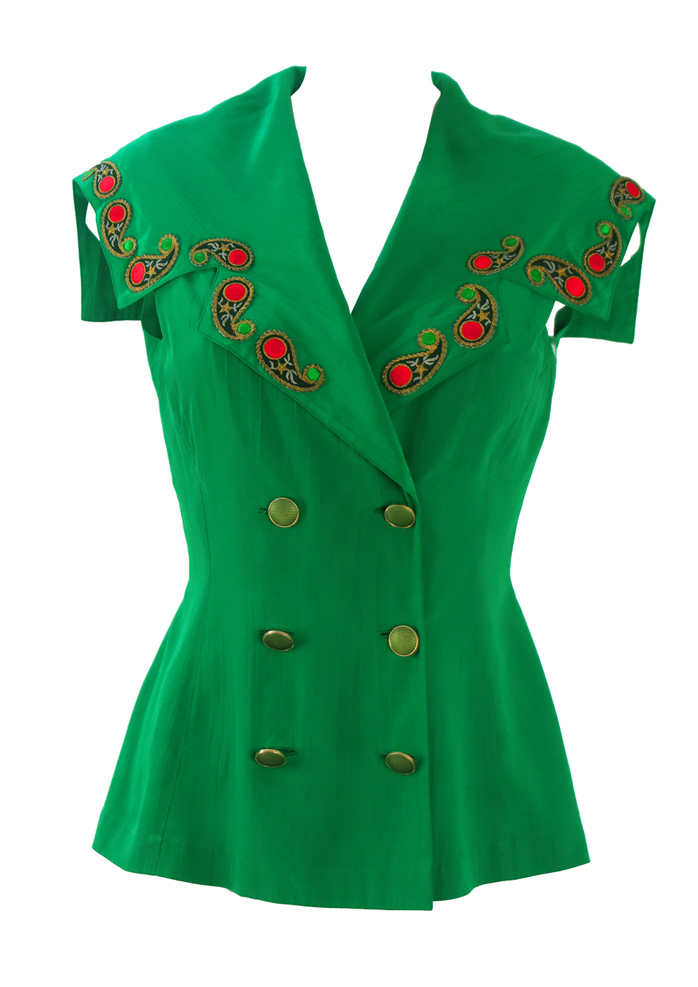 7d75ee4e2ded87 Emerald Green Sleeveless Top with Large Collar   Paisley Applique Detail -  S M