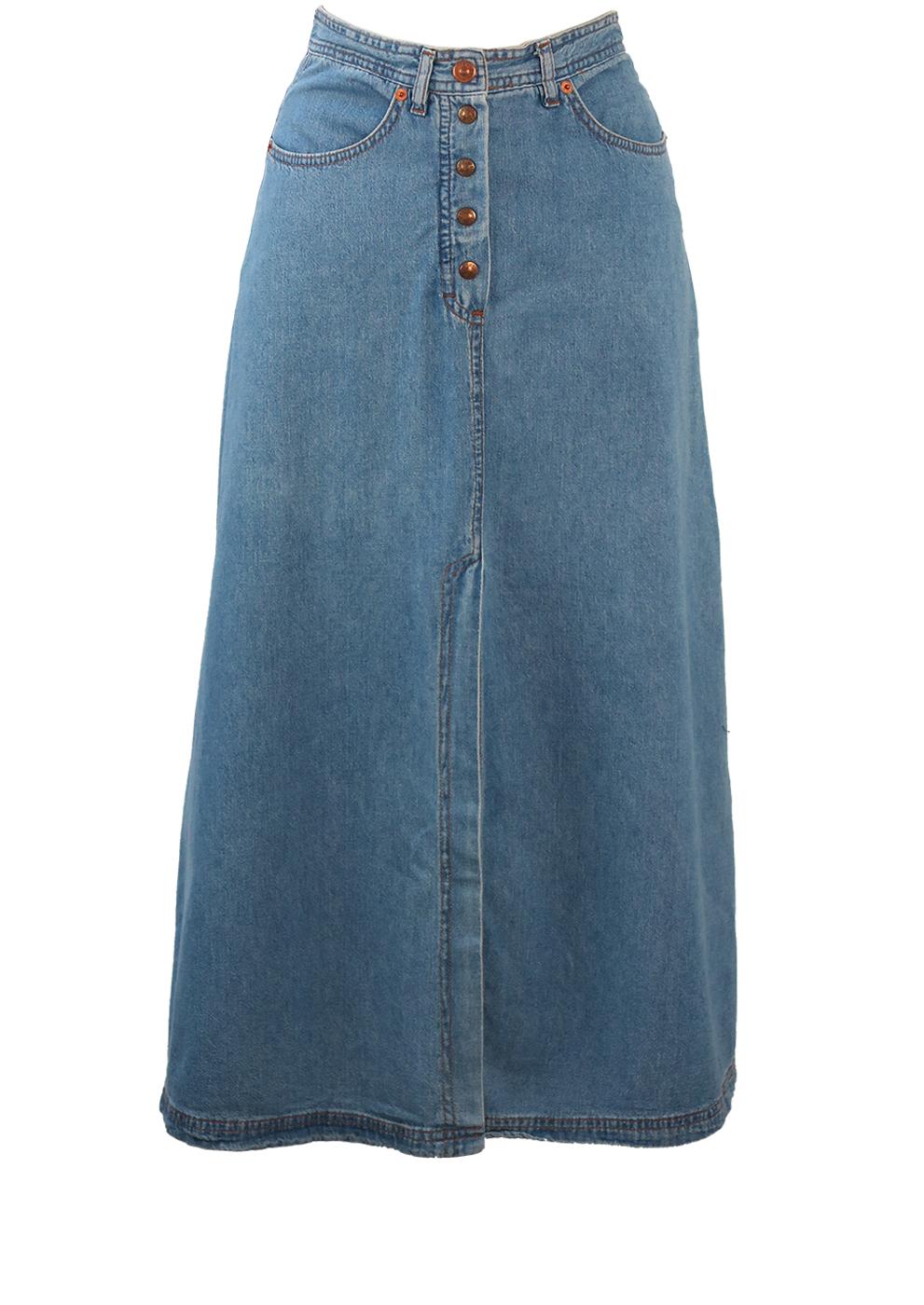 cd709ef7d3 Blue Denim A-Line Maxi Skirt with Long Front & Back Slit Detail – XS ...