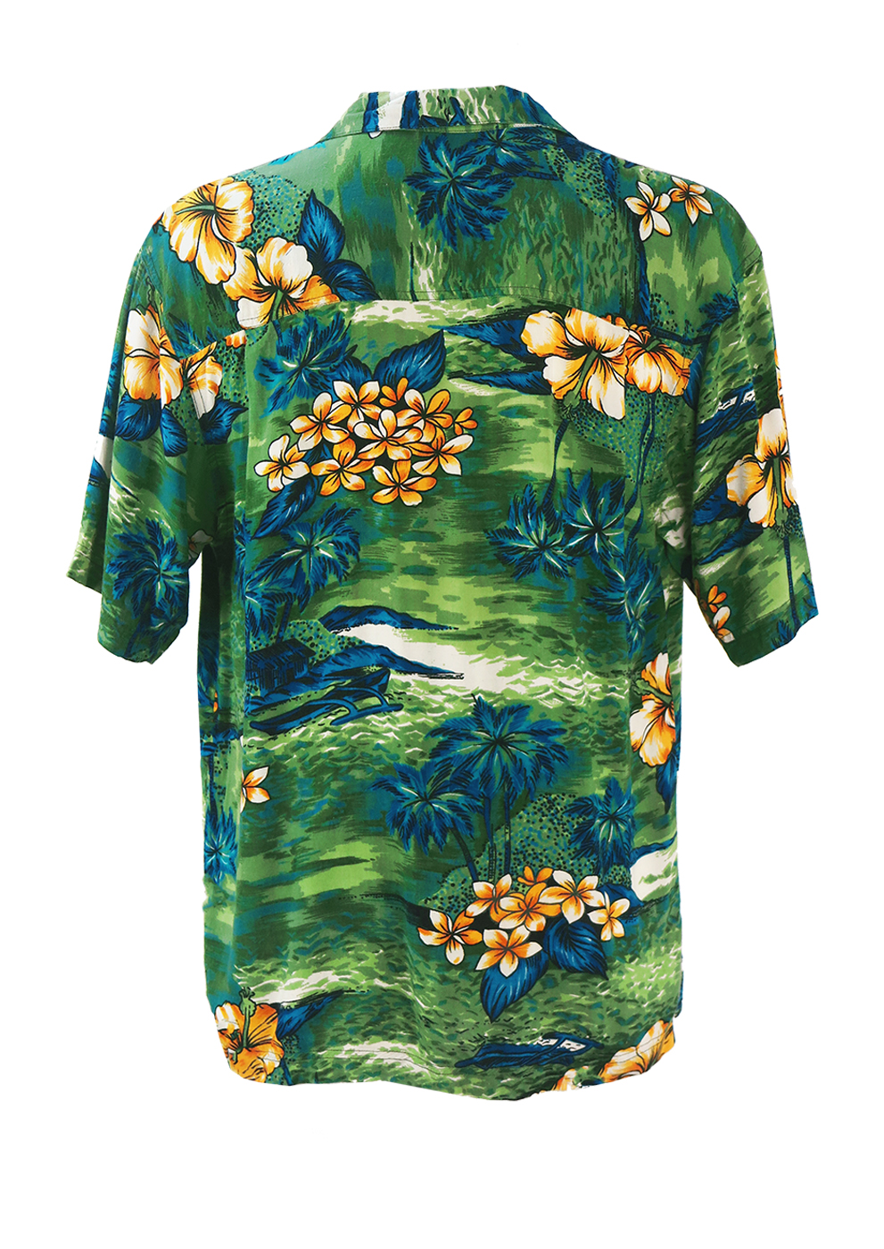 Green Hawaiian Shirt With Yellow Flower Blue Palm Tree Print Ml