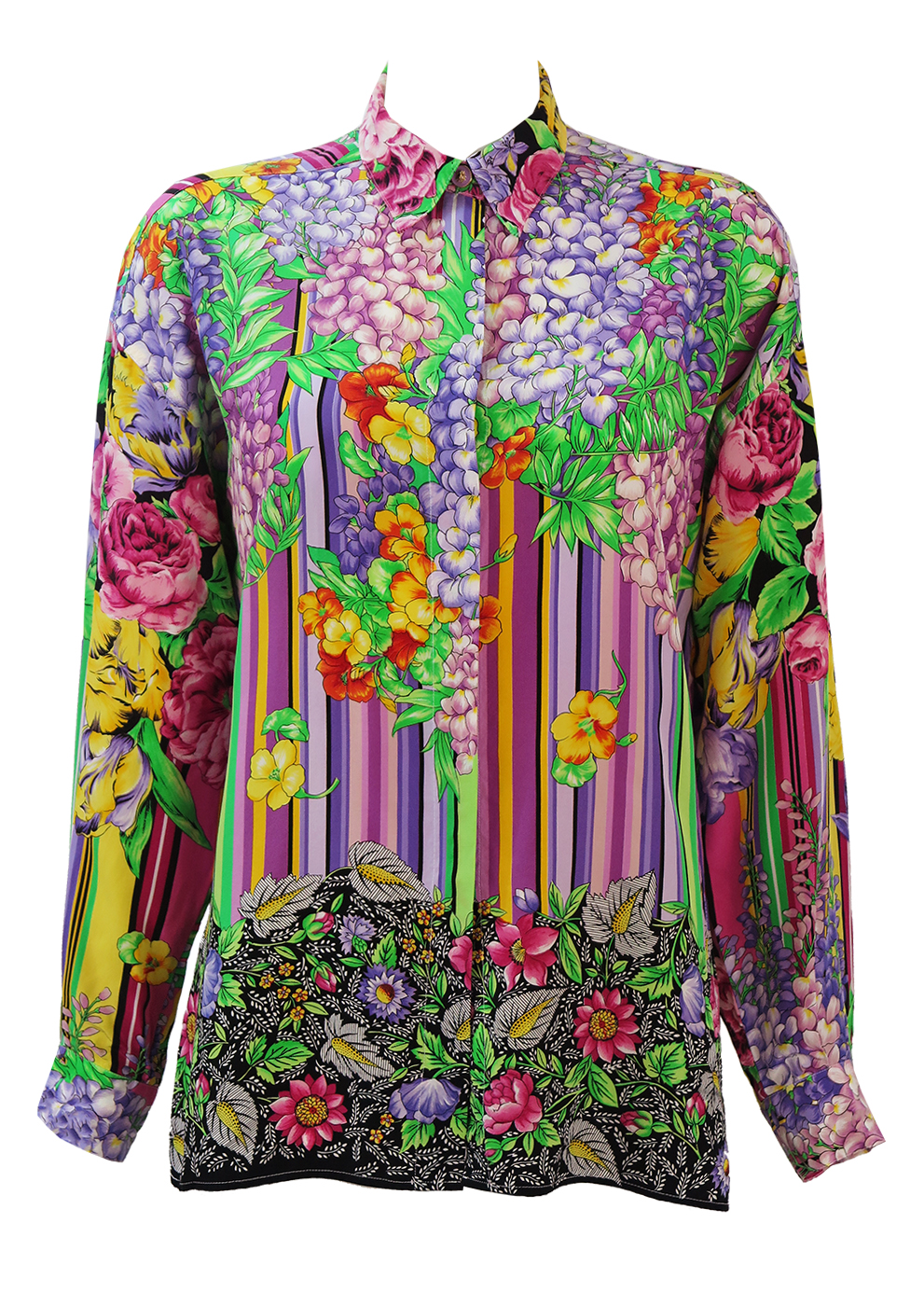 Vintage 90's Versus by Gianni Versace Blouse with Multi coloured Flowers &  Stripes Pattern - M/L