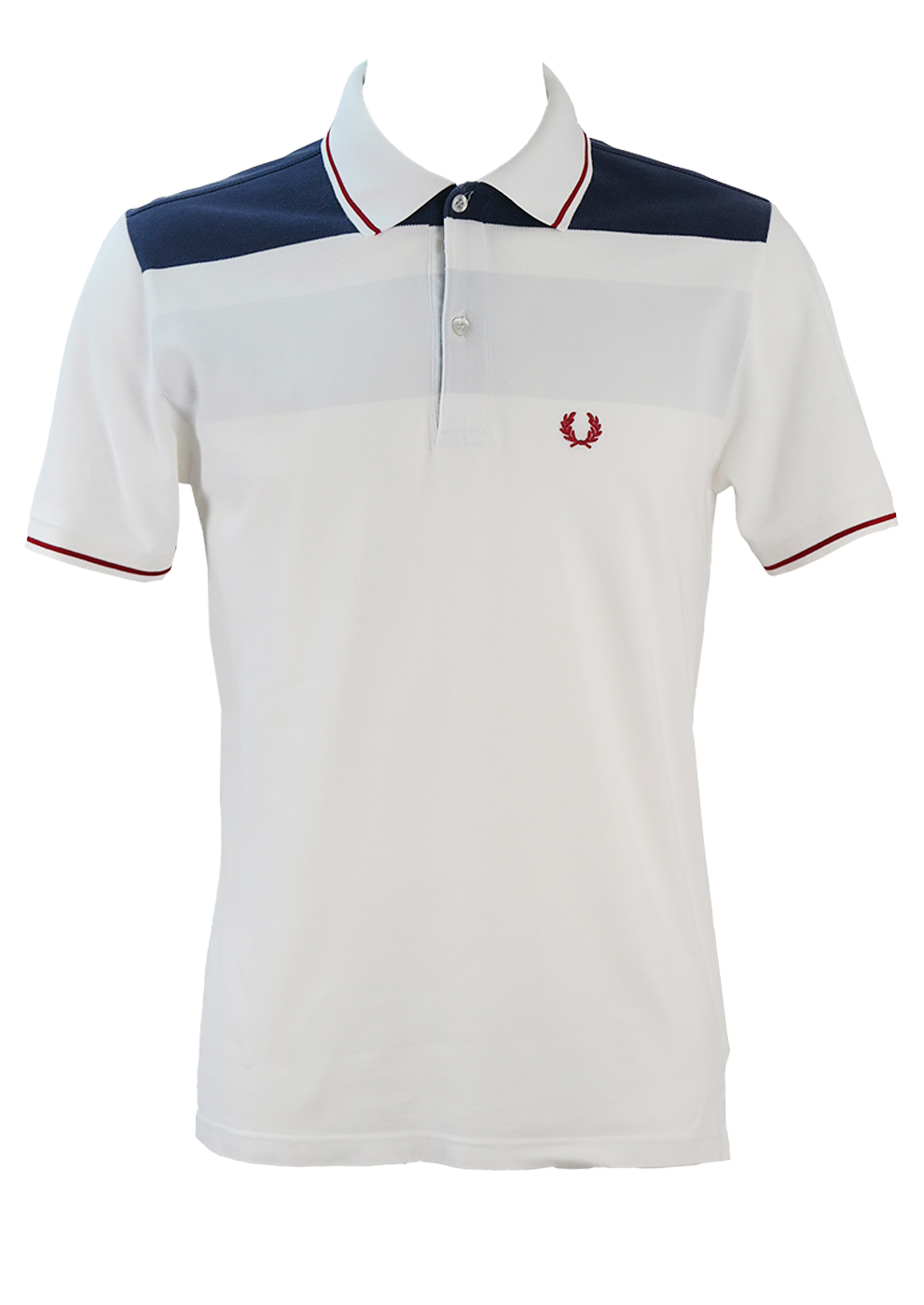 d3bfb3bf6 Fred Perry White Polo Shirt with Blue, Grey and Burgundy Stripes – S ...