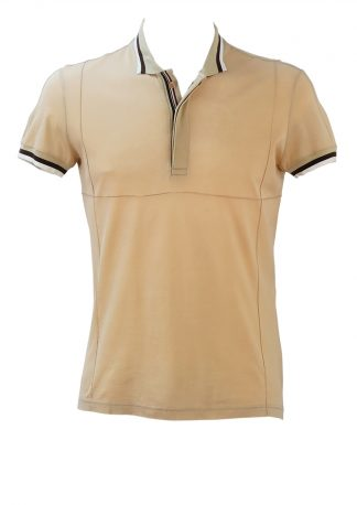 8d90212b4b Dolce   Gabbana Camel Coloured Polo Shirt with Brown   White Striped Edging  – S M