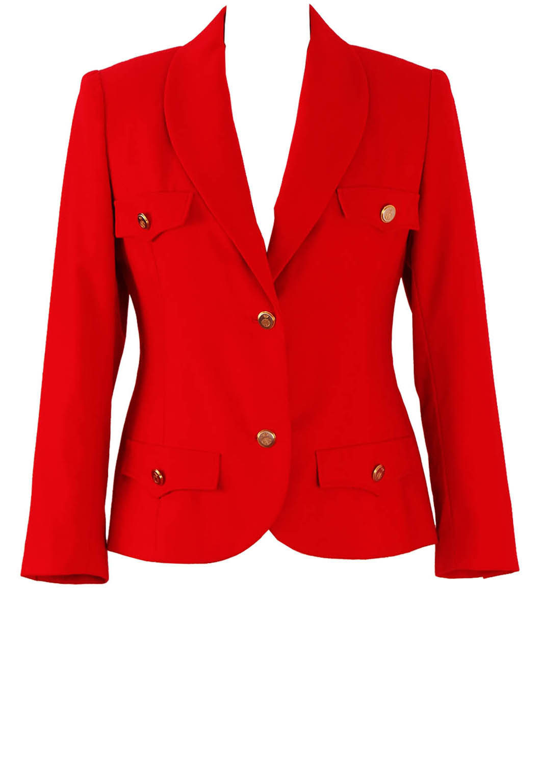 94deae807 Military Style Fitted Red Jacket with Gold Buttons - M