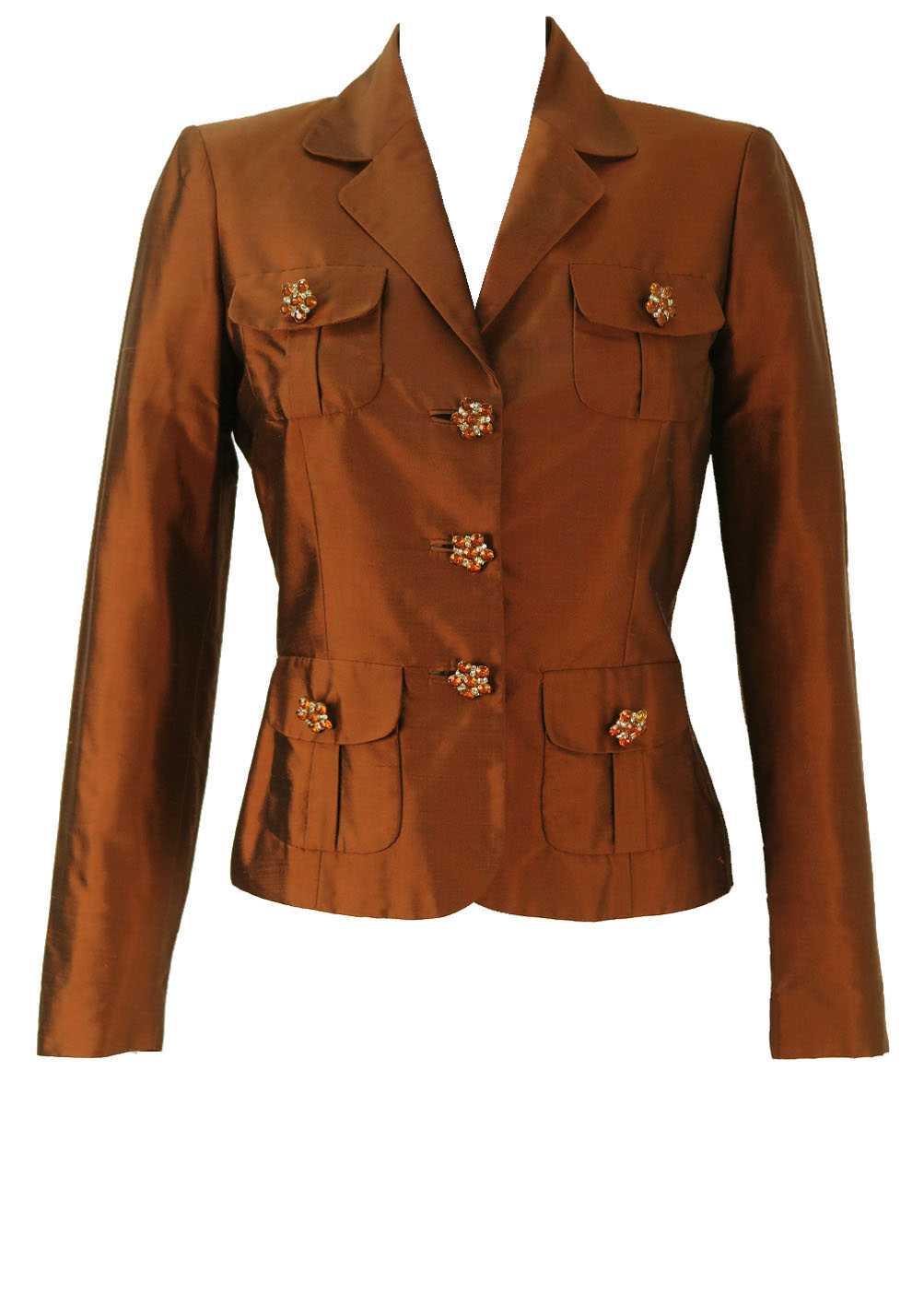 f7a07f3c73 Luisa Spagnoli Pure Silk Brown Jacket with Jewelled Buttons – S/M ...