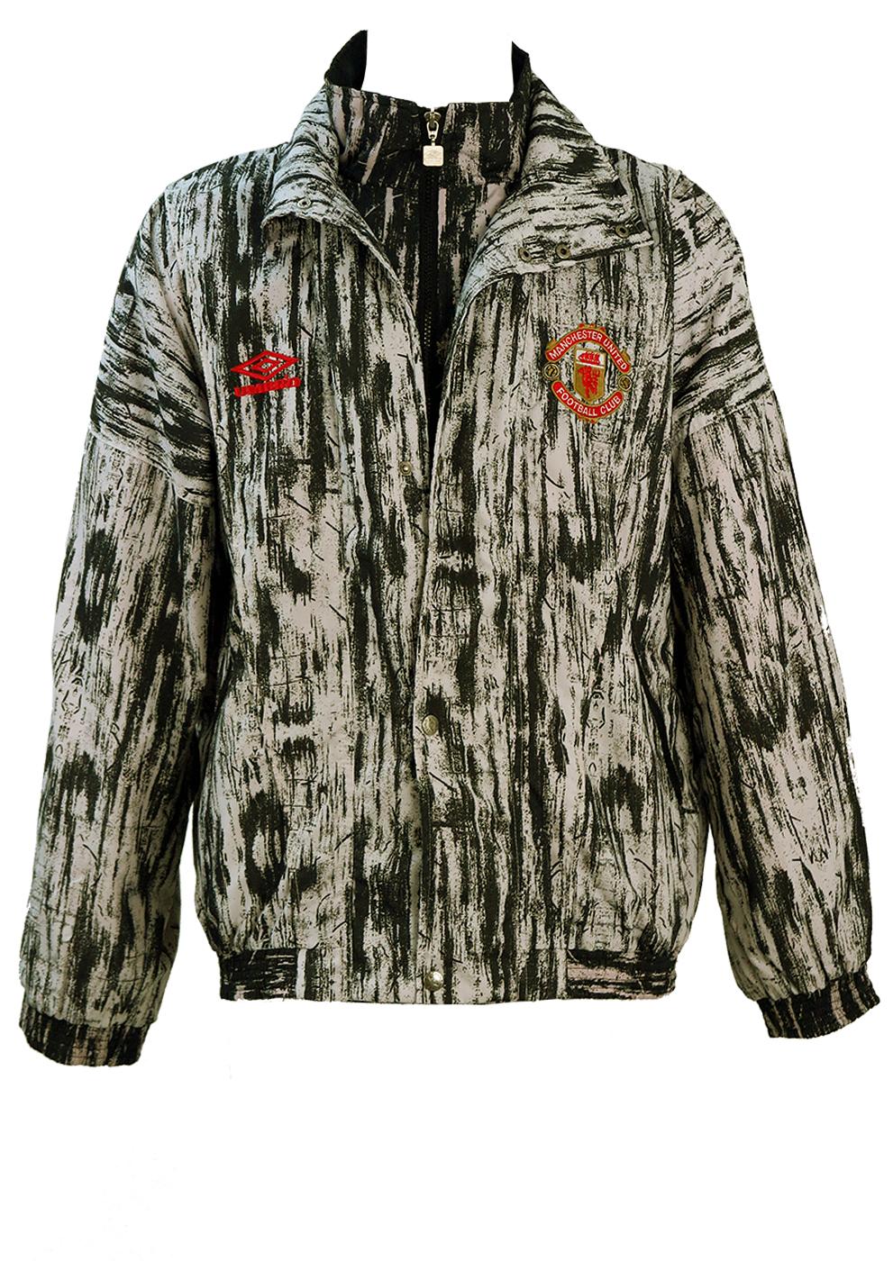 Vintage 90 S Graphic Black White Manchester United Umbro Track Jacket L Xl Reign Vintage