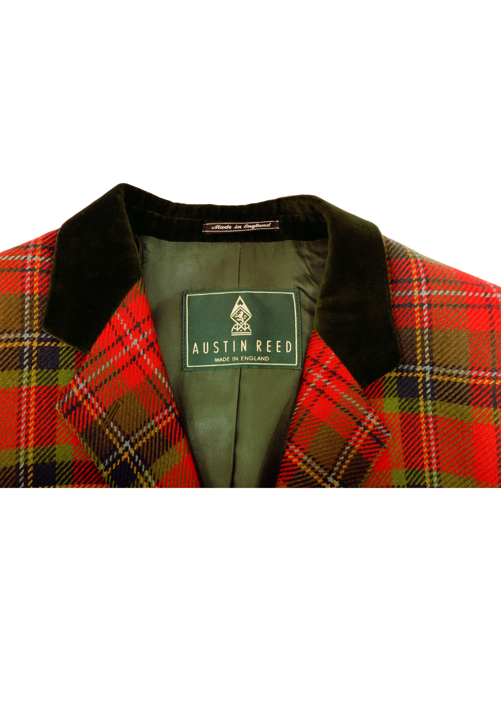 Austin Reed Red Green Tartan Jacket With Velvet Collar S M Reign Vintage