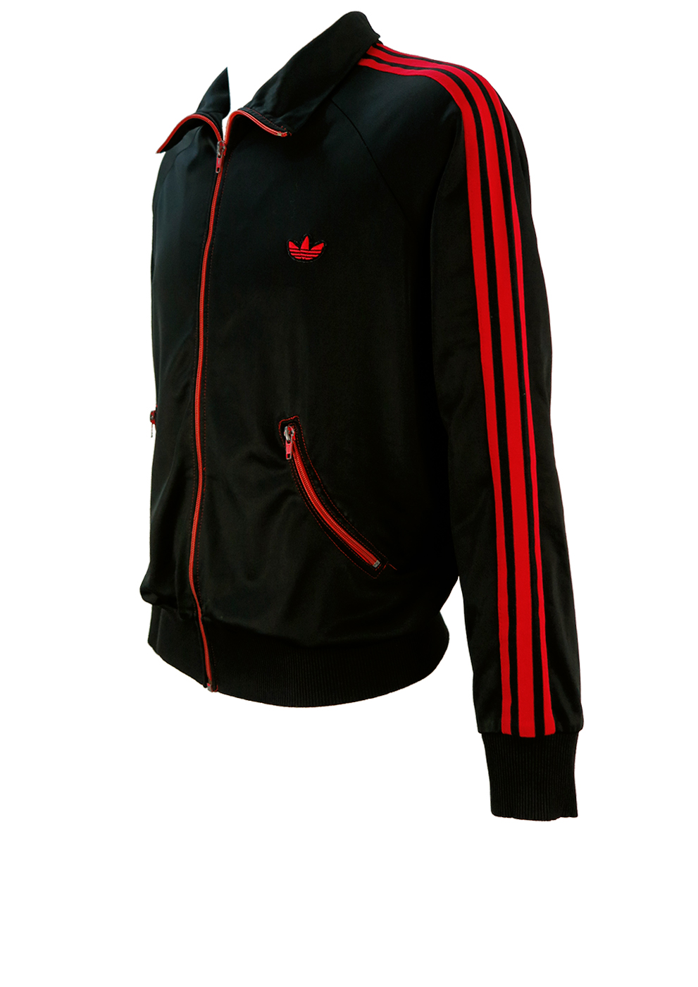 Existe Canoa Eliminar  Vintage 70's Adidas Black Track Jacket with Red Stripes and Curved Pockets  – M/L – Reign Vintage