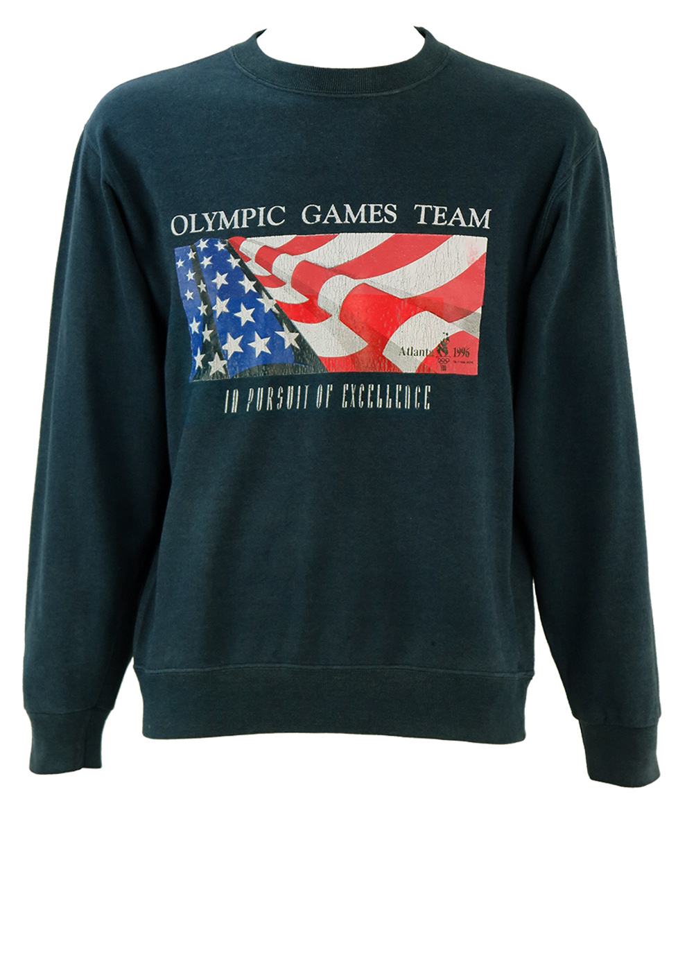 Sweatshirt 1996 Sm Vintage Olympic Games Champion Atlanta Blue OuPkZwXiT