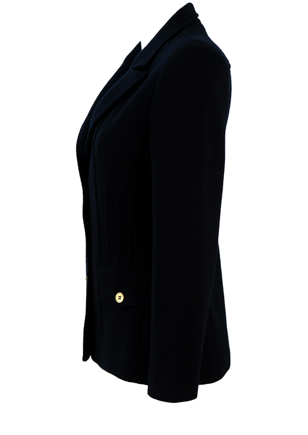 33e5140bdc Luisa Spagnoli Pure Wool Navy Blue Jersey Blazer with Gold Buttons - S.  Touch to zoom