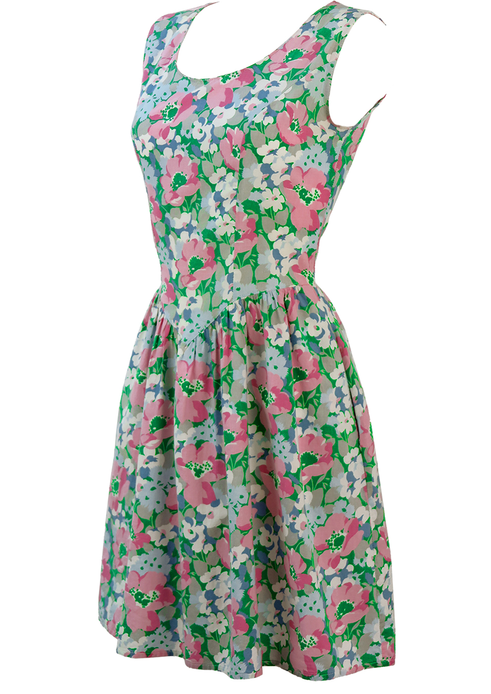 Above The Knee Sleeveless Flare Dress With Green Pink