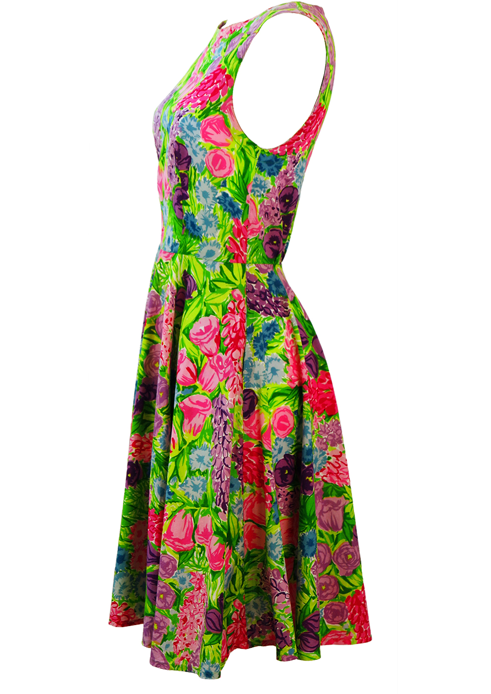 Bright Green Flare Dress With Pink Amp Purple Floral Print