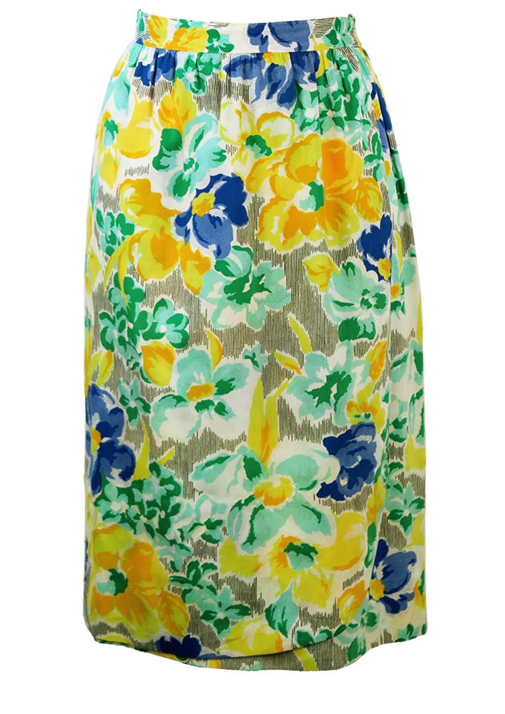 59b0a75e6d Midi Black & White Stripe Skirt with Yellow, Blue & Mint Floral Pattern - S