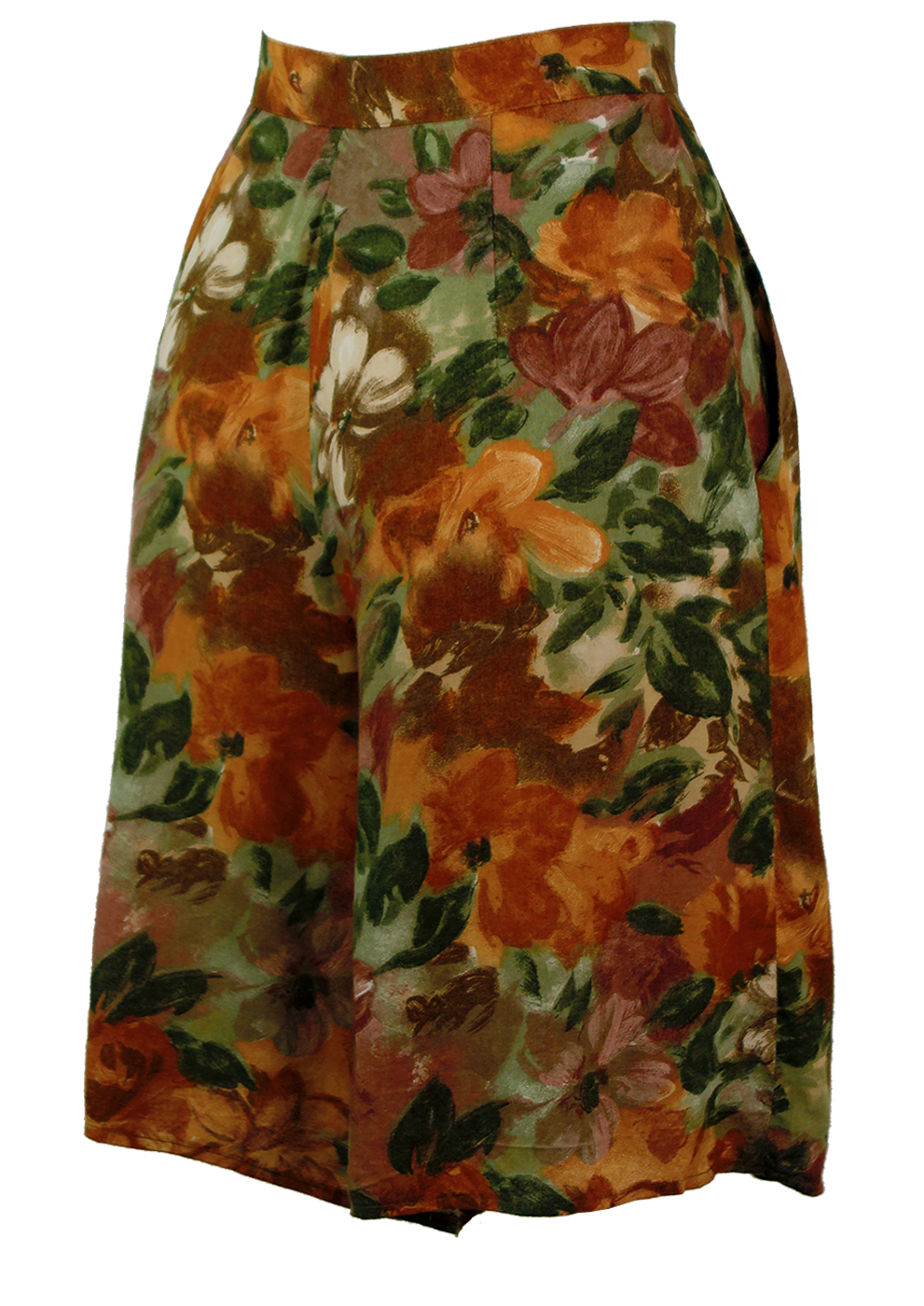 Olive Green, Ochre & Brown Abstract Floral Print Culottes