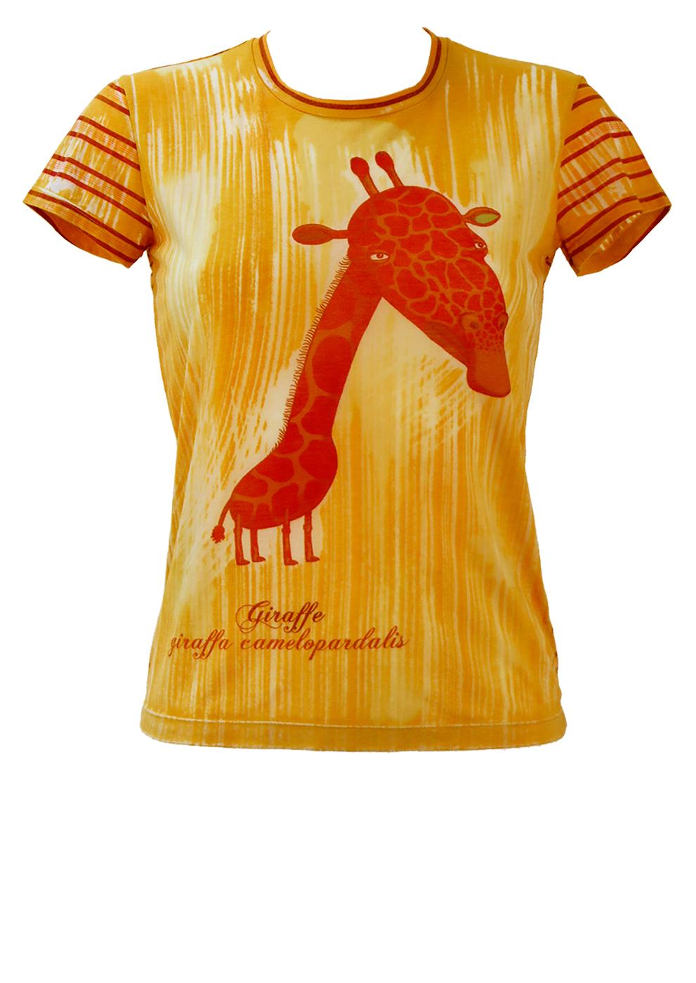 19e4bee8 Custo Giraffe Print T-shirt in Yellow, Ochre and Brown – S/M – Reign ...