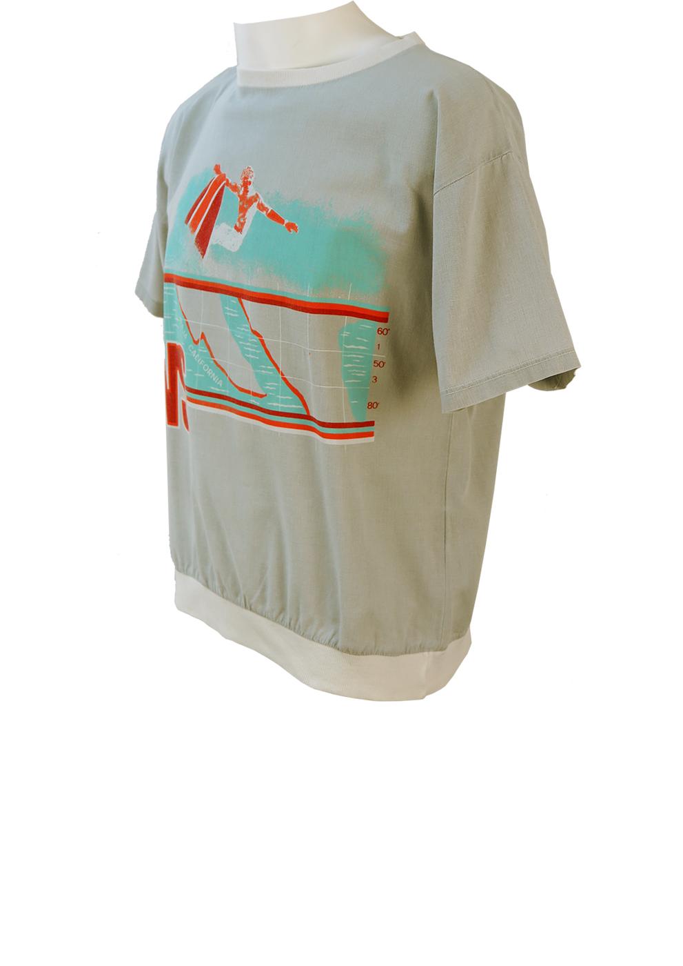 Grey Short Sleeved Shirt T Shirt With Orange Amp Blue