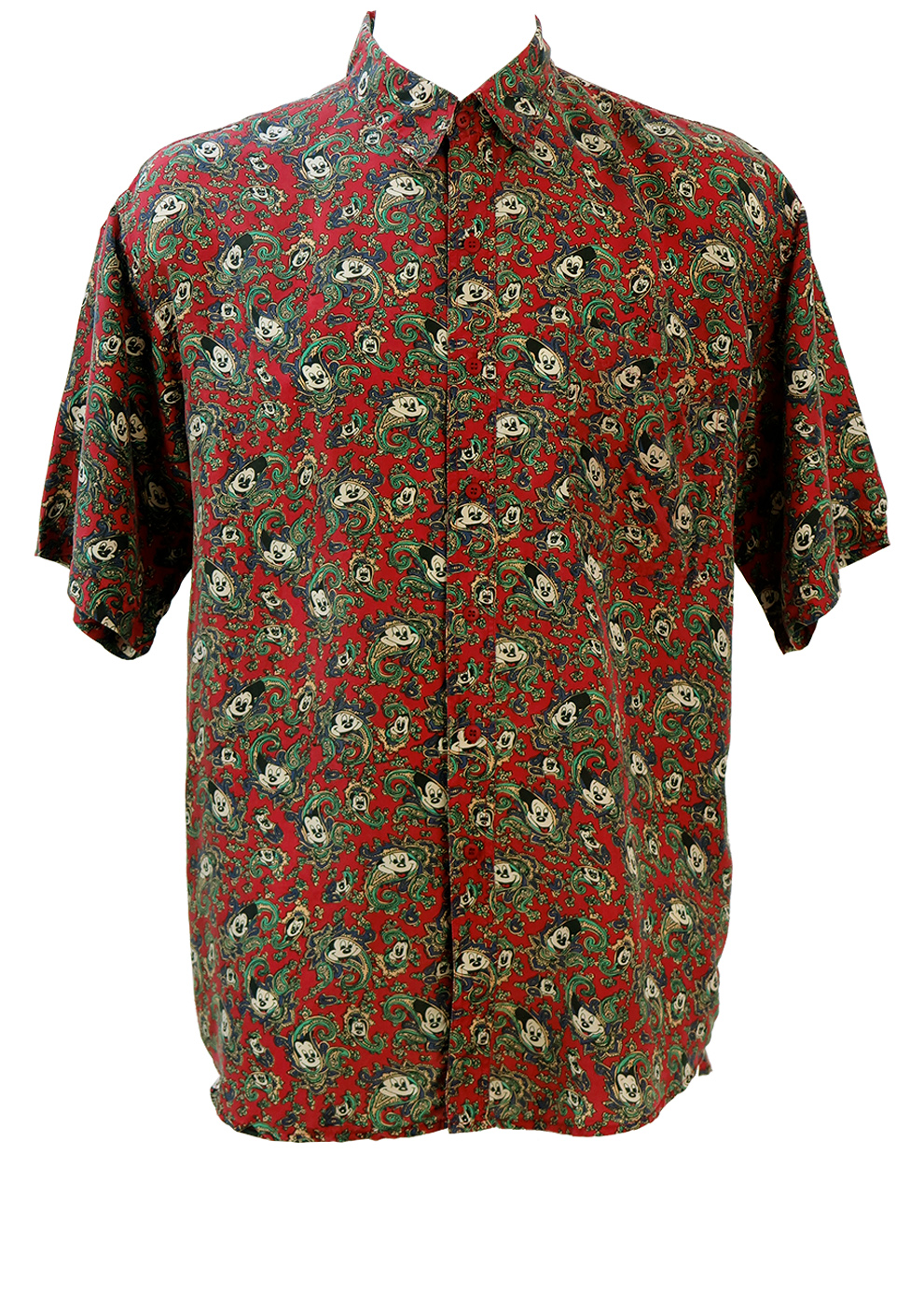 14c0a8fa2 Vintage 90's Silk Short Sleeved Shirt with Mickey Mouse Paisley Pattern - L /XL