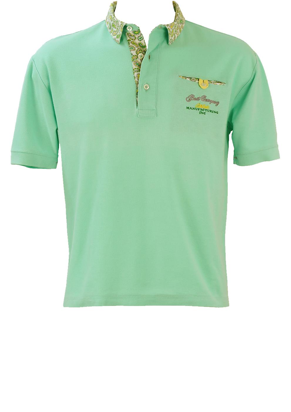 fbda4459 Olmes Carretti Best Company Light Blue Polo Shirt with Paisley Collar  Detail - M