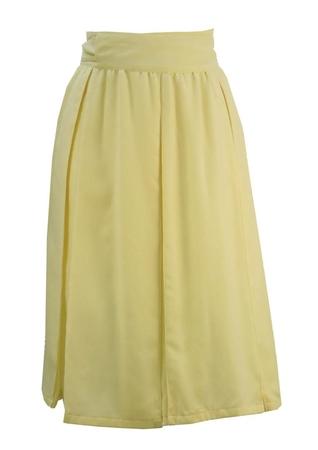 Cream Pleated A-Line Wrap Skirt - S