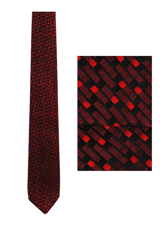Vintage 1960's Skinny Tie with Red & Black Graphic Pattern