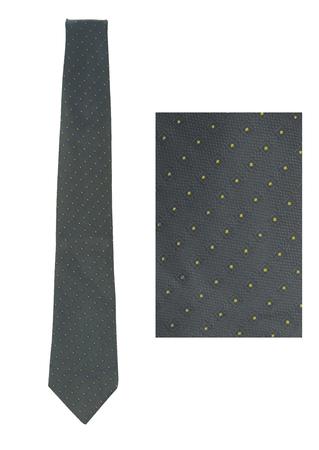 Mariano Rubinacci Blue Grey Silk Tie with Yellow Polka Dots & Square Motif