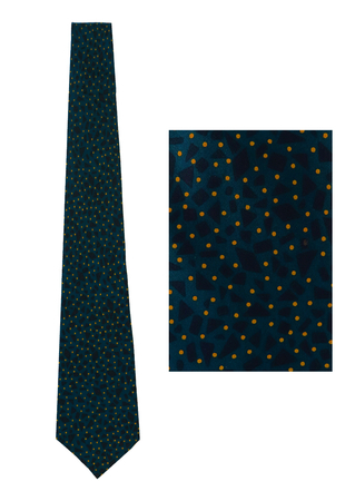 Rocco Barocco Blue Silk Tie with Navy and Yellow Graphic Pattern