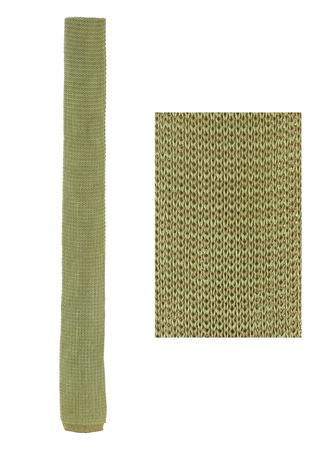 Knitted Pistachio & Grey Striped Skinny Cotton Tie