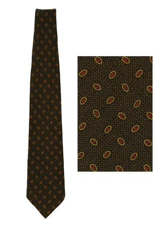 Giorgio Armani Navy Blue Silk Tie with Burgundy & Olive Oval Shaped Pattern