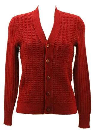 Russet Rib Knit Textured Cardigan - XS/S