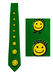 Green Tie with Acid Yellow Smiley Faces