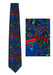 Vibrant Geometric Patterned Tie in Blue, Grey, Purple & Red