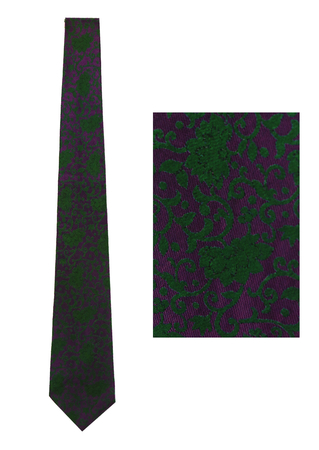 Slim Tie with Purple & Green Ornate Floral Pattern
