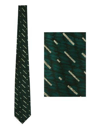 Vintage 1960's Skinny Tie in Black & Teal with Metallic Silver Stripes