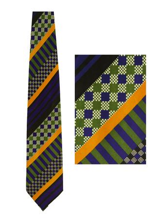 Green, Blue & Ochre Striped & Chequer Board Print Silk Tie