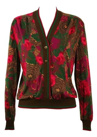 Jersey Button Front Jumper with Brown, Pink & Green Floral Pattern - M