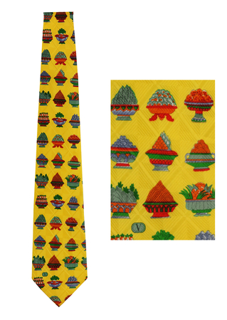 Valentino Yellow Silk Tie with Banquet Food Pattern