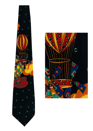 Navy Blue Silk Tie with Hot Air Balloon Imagery