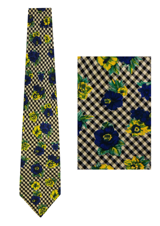 Kenzo Black & White Check Silk Tie with Blue & Yellow Floral Print